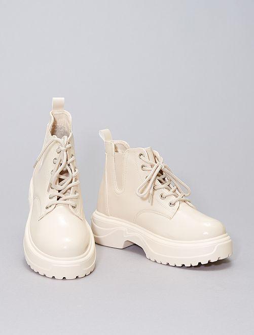 Boots à large semelle                             beige