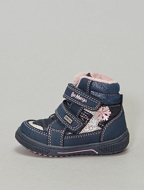 Boots à scratch fourrées pailletées                             bleu marine