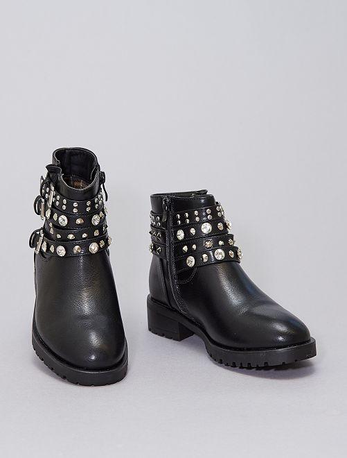 Boots à strass et clous                             noir