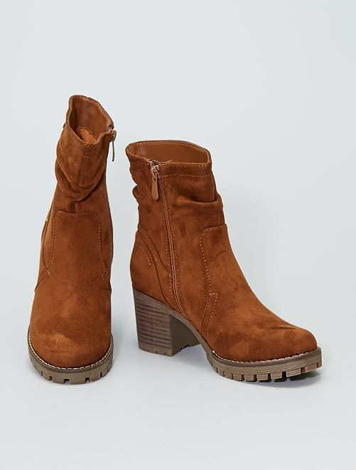 Boots à talon en suédine                             camel