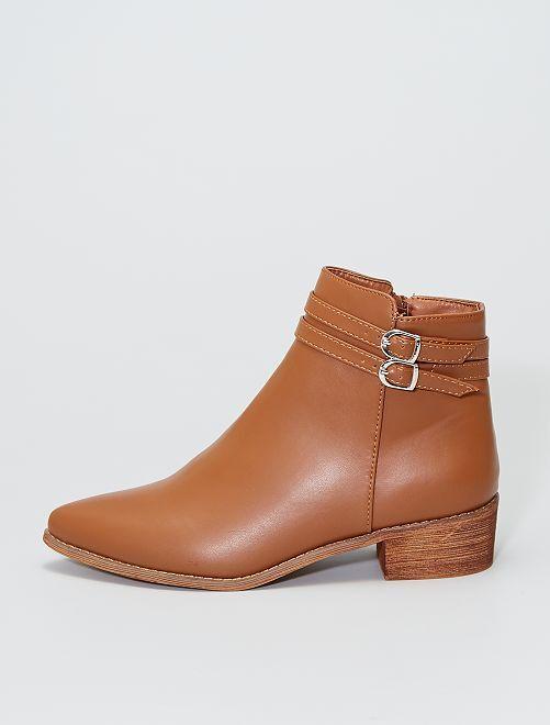 Boots à talon imitation bois                             camel