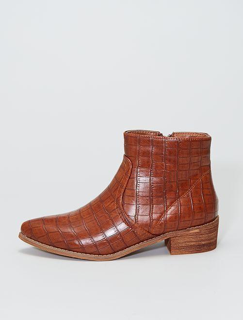 Boots à talon texturée                             camel