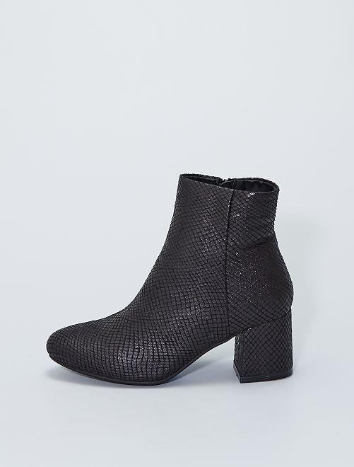 Boots à talons avec motifs                             noir
