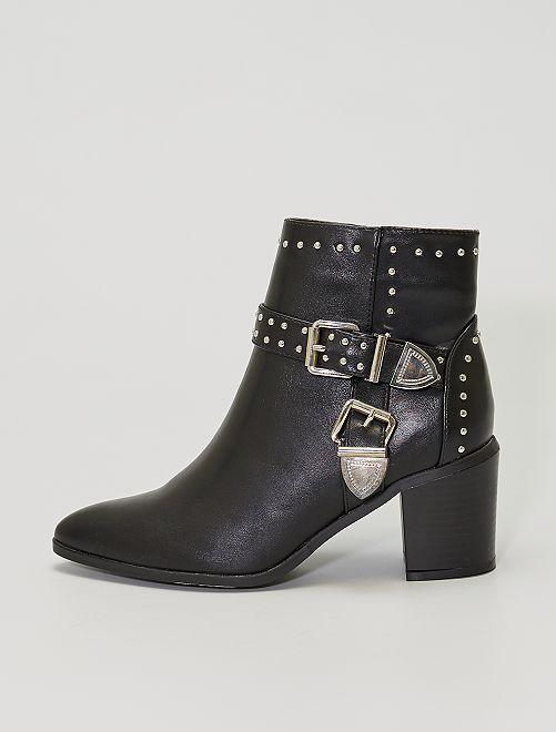 Boots à talons cloutées                             noir