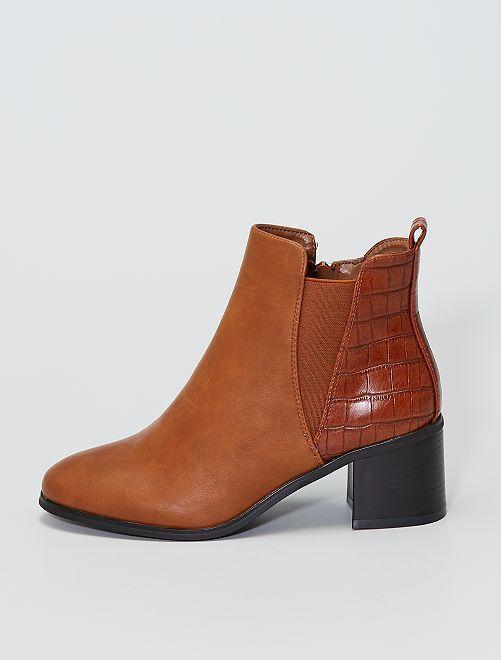 Boots à talons détail croco                     camel