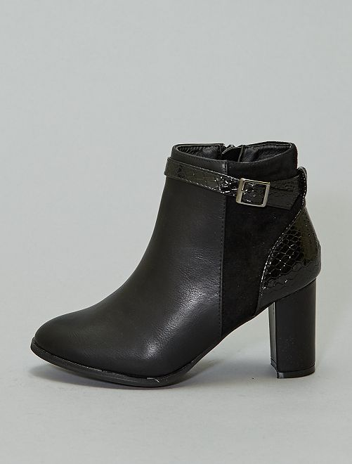 Boots à talons détail croco verni                             noir