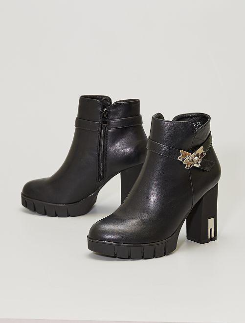 Boots à talons détails métal                             noir