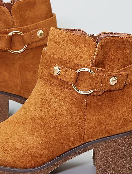 Boots à talons en suédine                             camel