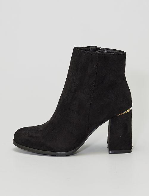 Boots à talons en suédine                                         noir