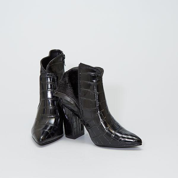 botte haute cuir noir homme kiabi
