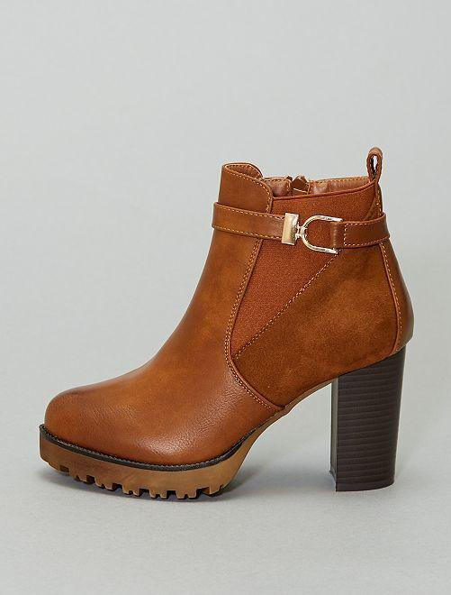 Boots à talons style chelsea                             camel