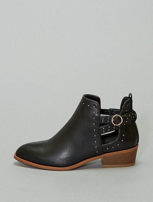 Boots ajourées à clous                             noir