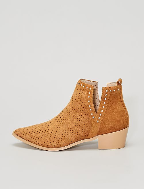 Boots ajourées avec strass                                         camel