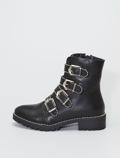 Boots avec brides cloutées                             noir