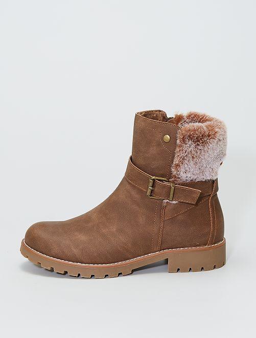 Boots avec fausse fourrure                             brun