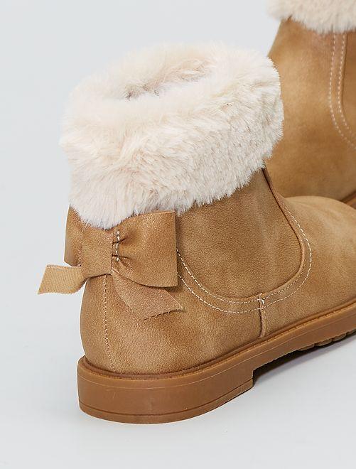 Boots avec fausse fourrure                             camel