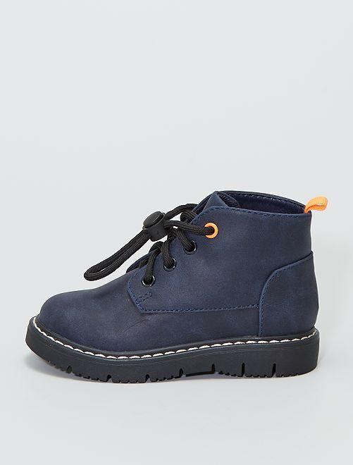 Boots avec liens coulissants                             bleu navy