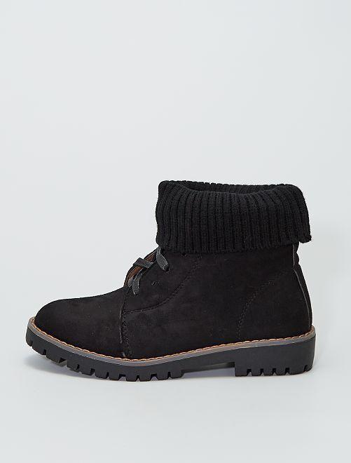 Boots avec revers de chevilles façon chaussettes                                         noir