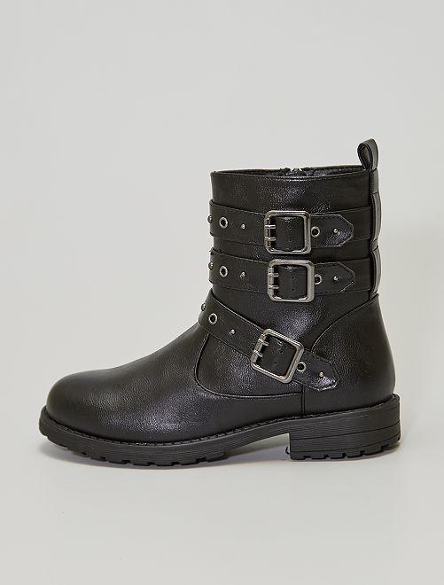 Boots avec sangles à clous                             noir