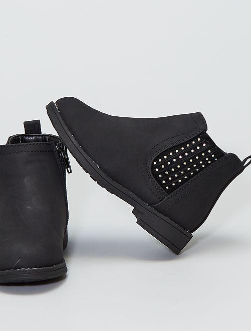 Boots avec soufflets à strass                                         noir