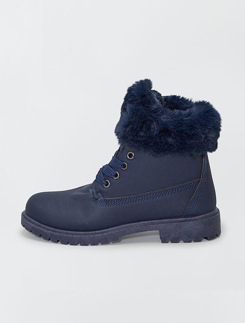Boots avec tour de cheville façon fourrure                                                                 bleu