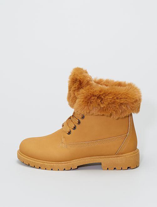 Boots avec tour de cheville façon fourrure                                                                 camel