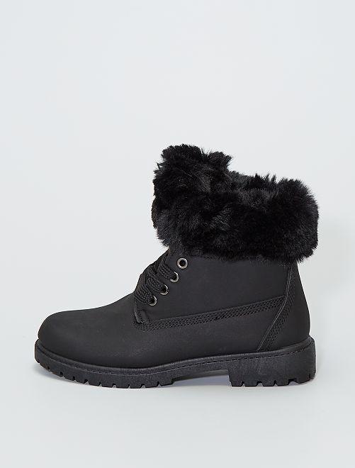 Boots avec tour de cheville façon fourrure                                                                 noir