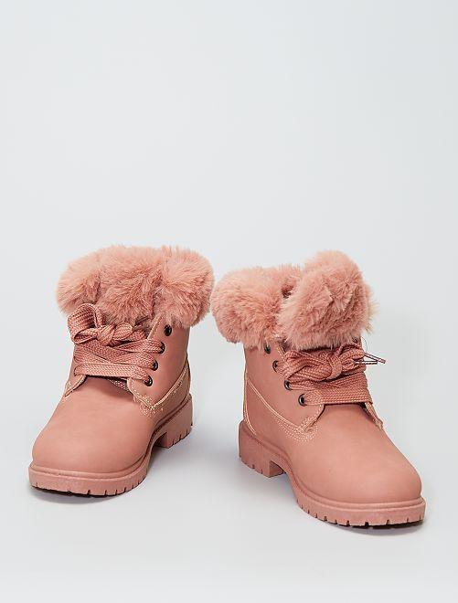 Boots avec tour de cheville façon fourrure                                                                 rose