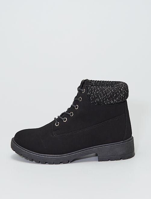 Boots avec tours de chevilles en mailles côtelées                             noir