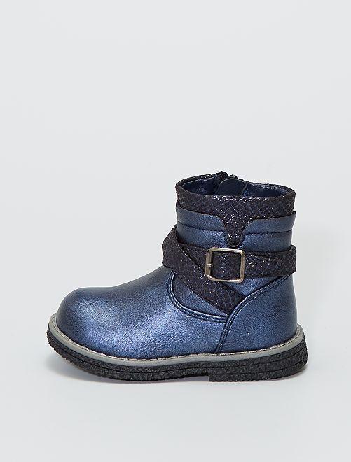 Boots 'Beppi' irisées bi-matière                             bleu