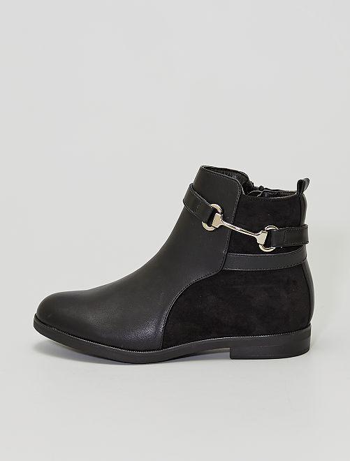 Boots bi-matière avec boucle                             noir