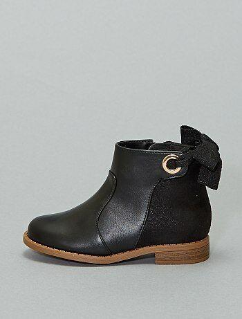Boots bi-matière avec ruban