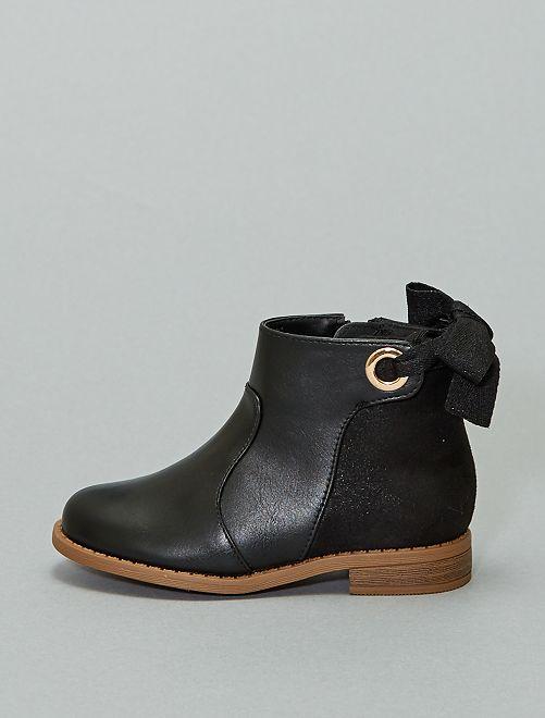 Boots bi-matière avec ruban                             noir