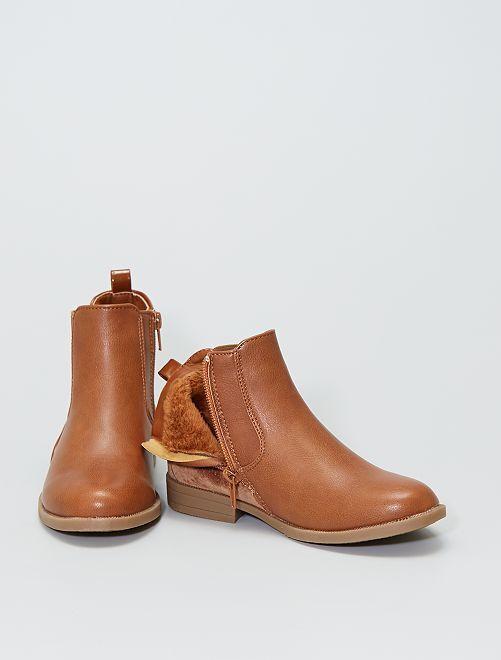 Boots bi-matière                             brun sombre