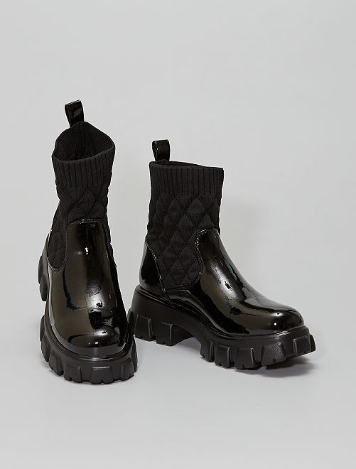Boots bi matière                             noir verni
