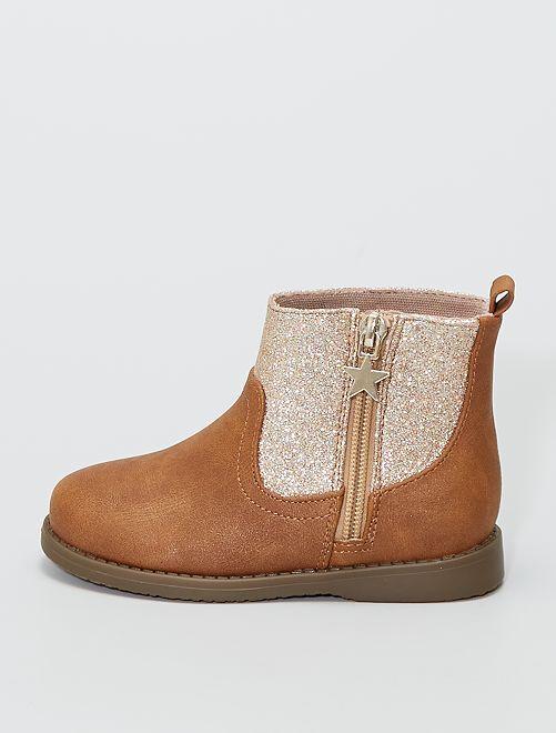 Boots bi-matière pailletées                                         brun