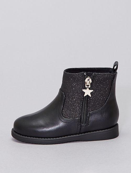 Boots bi-matière pailletées                                         noir