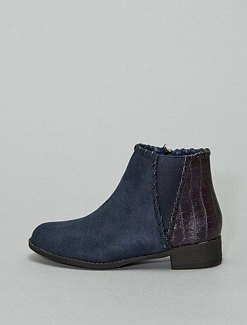 Boots bi-matière 'peau de serpent'