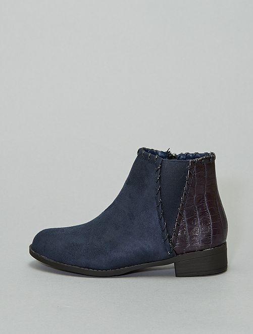 Boots bi-matière 'peau de serpent'                                                     bleu