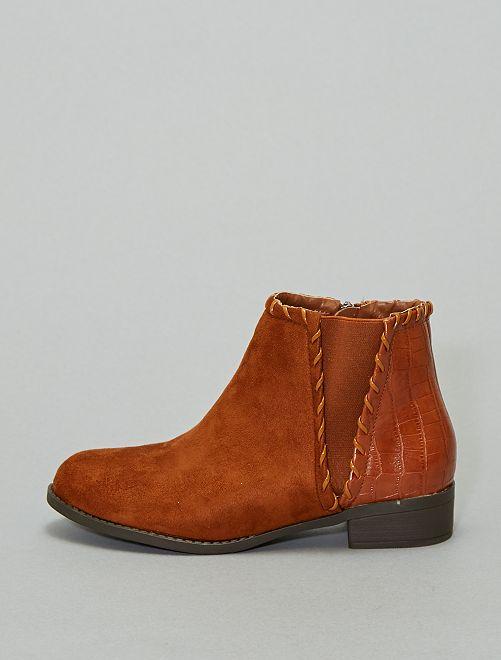 Boots bi-matière 'peau de serpent'                     camel
