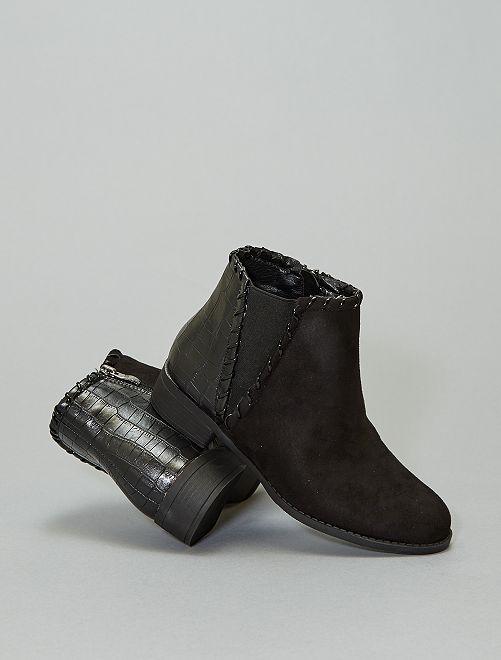 Boots bi-matière 'peau de serpent'                                                     noir
