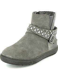 Chaussures, chaussons - Boots bi-matière simili et suédine