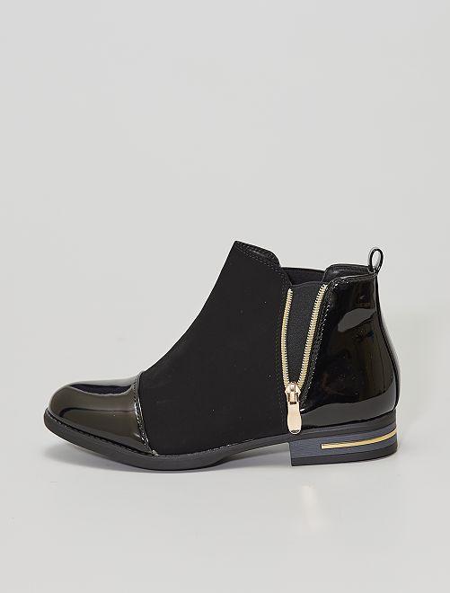 Boots bi matières                             noir