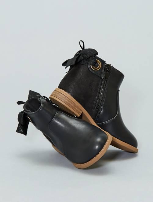 Boots bicolores                             noir Fille adolescente