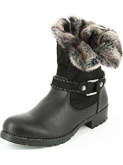 Boots, bottines - Boots bimatière fausse fourrure - Kiabi