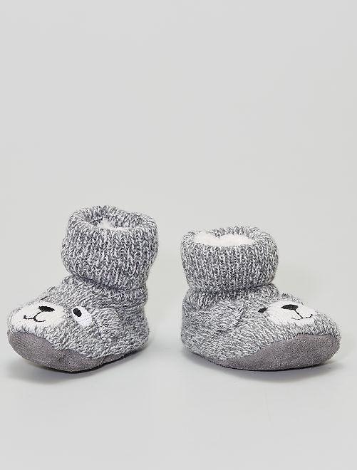 Boots chaussons en laine                                         gris