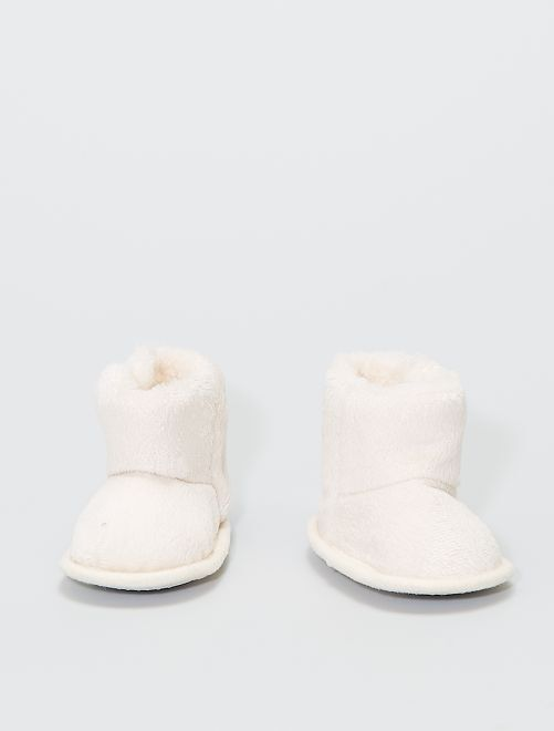 Boots chaussons en maille peluche                                                     BEIGE