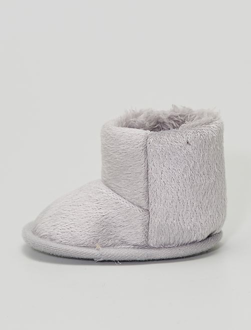 Boots chaussons en maille peluche                                                     gris clair