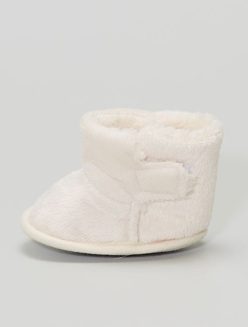 Boots chaussons en maille peluche                                                     rose