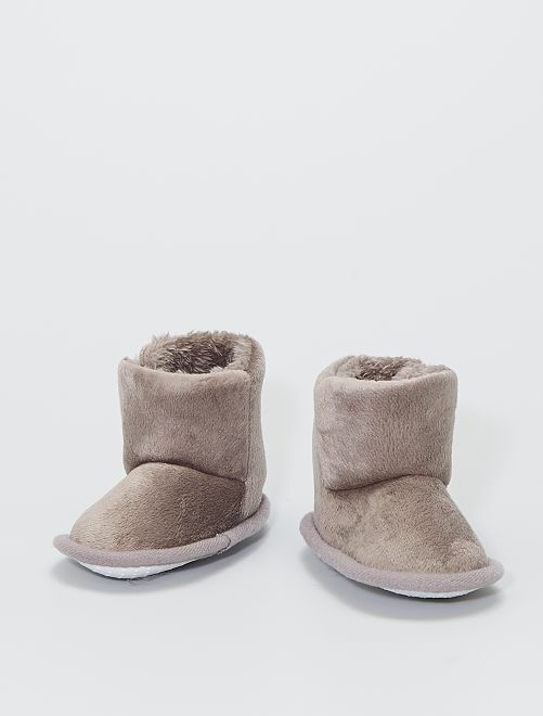 Boots chaussons en maille peluche                                                     taupe